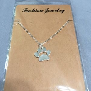 Paw Print Silver Necklace- New